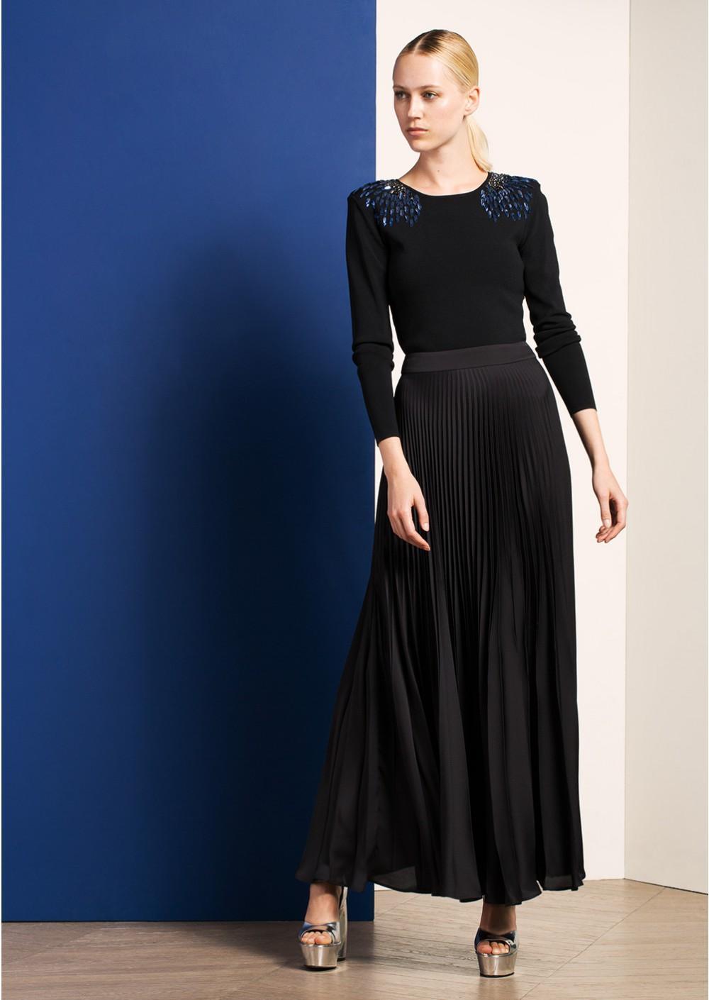 Jupe Noire Plissée Longue Longue Zara Noire Plissée Jupe 5qj3ARS4cL