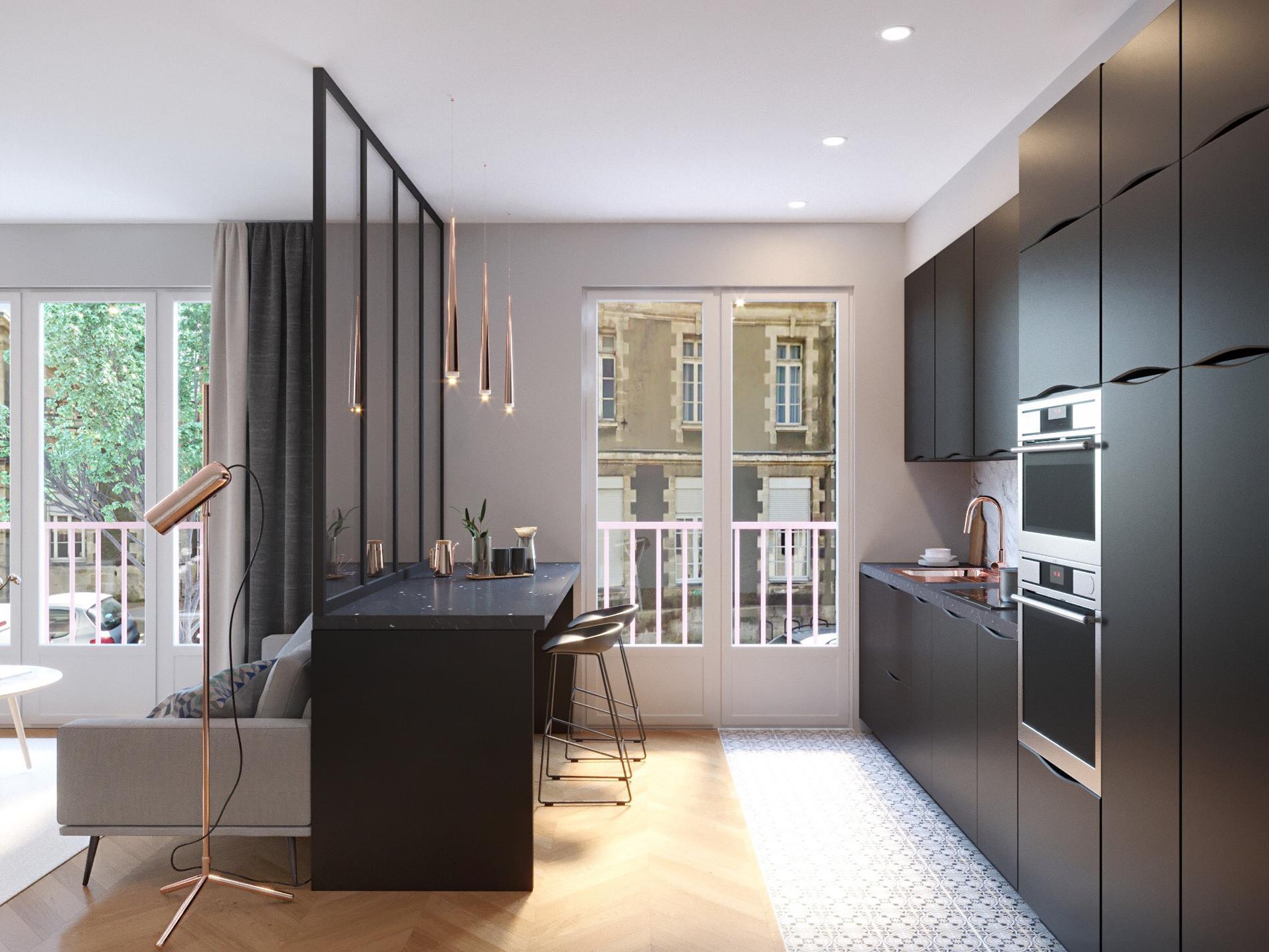 Comment ouvrir sa cuisine sur le salon madame figaro - Cuisine ouverte sur salon avec bar ...