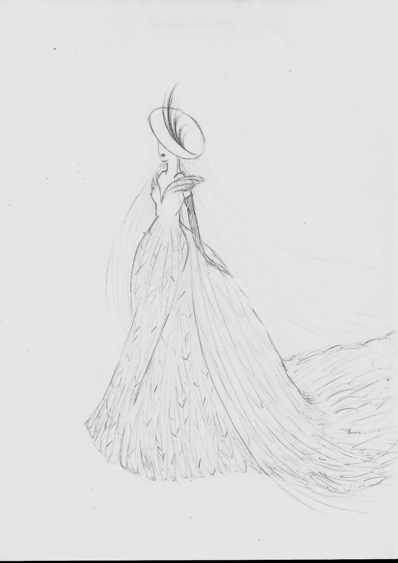 ea85572bc09 La robe de mariée de Meghan Markle vue par la maison Victoire Vermeulen    «En gazar de soie entièrement recouvert de plumes d autruche pour la jupe  et des ...