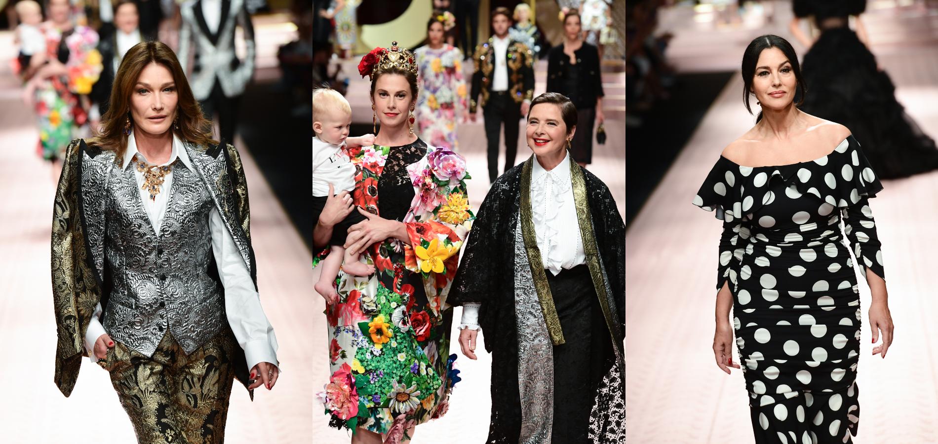 b3019dde4b Carla Bruni, Isabella Rossellini et Monica Bellucci, entres autres,  défilent pour Dolce & Gabbana à Milan. (Milan, le 23 septembre 2018.)