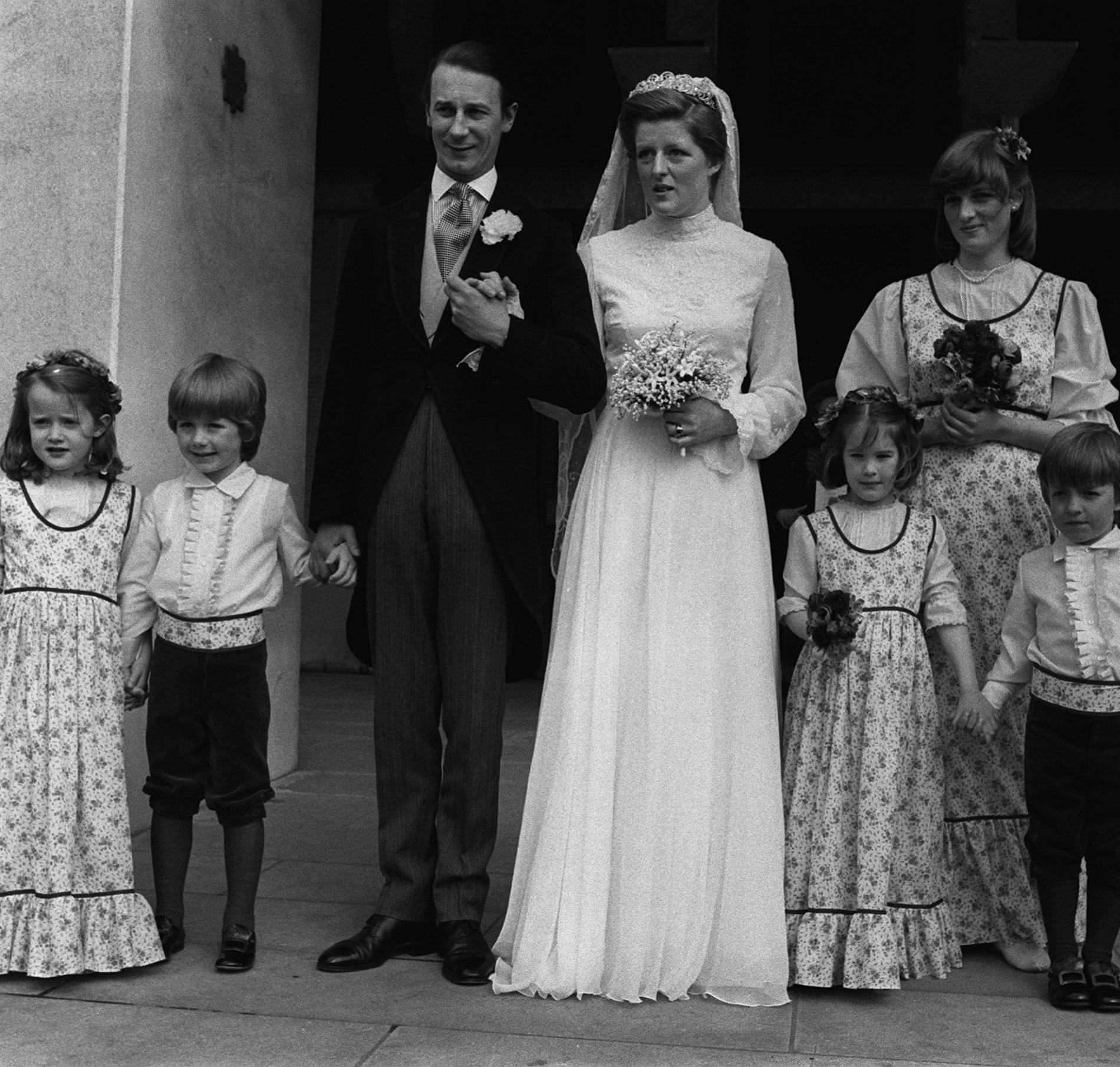 Jane Fellowes à son mariage en 1978