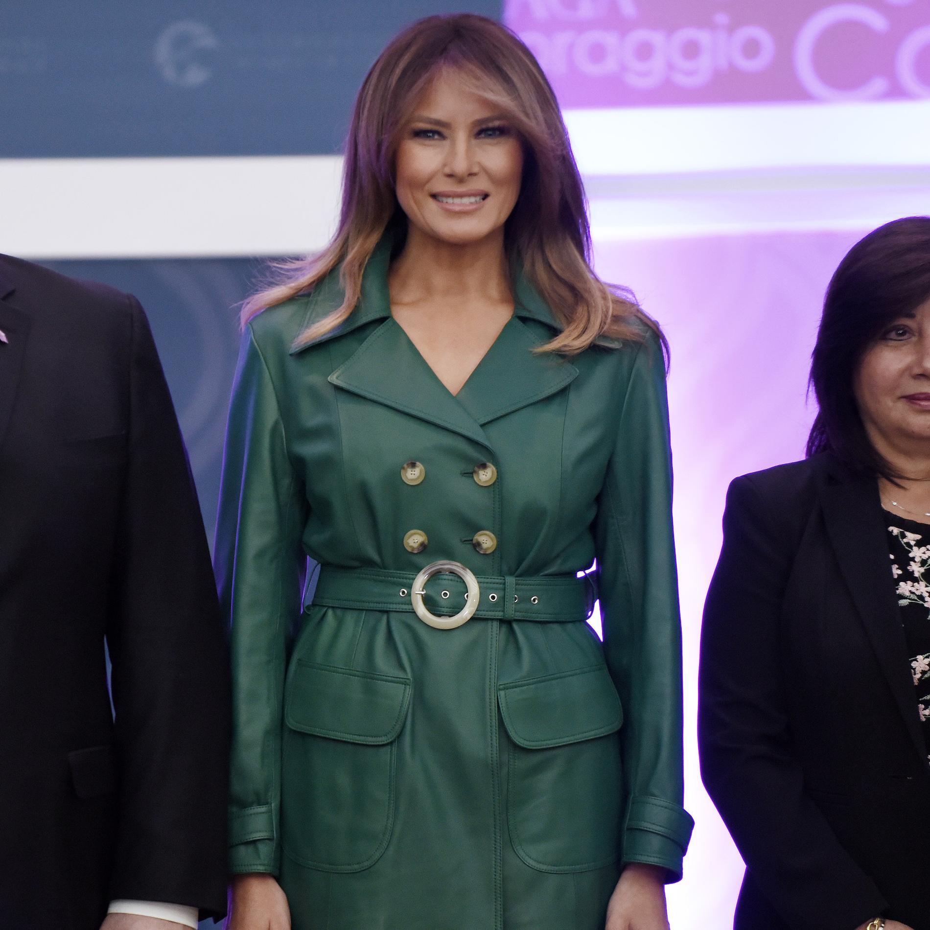 Melania Trump en manteau vert