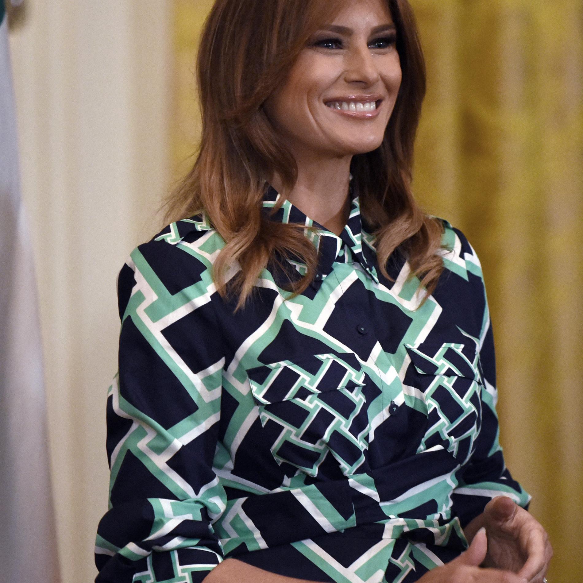 Melania Trump en robe imprimée