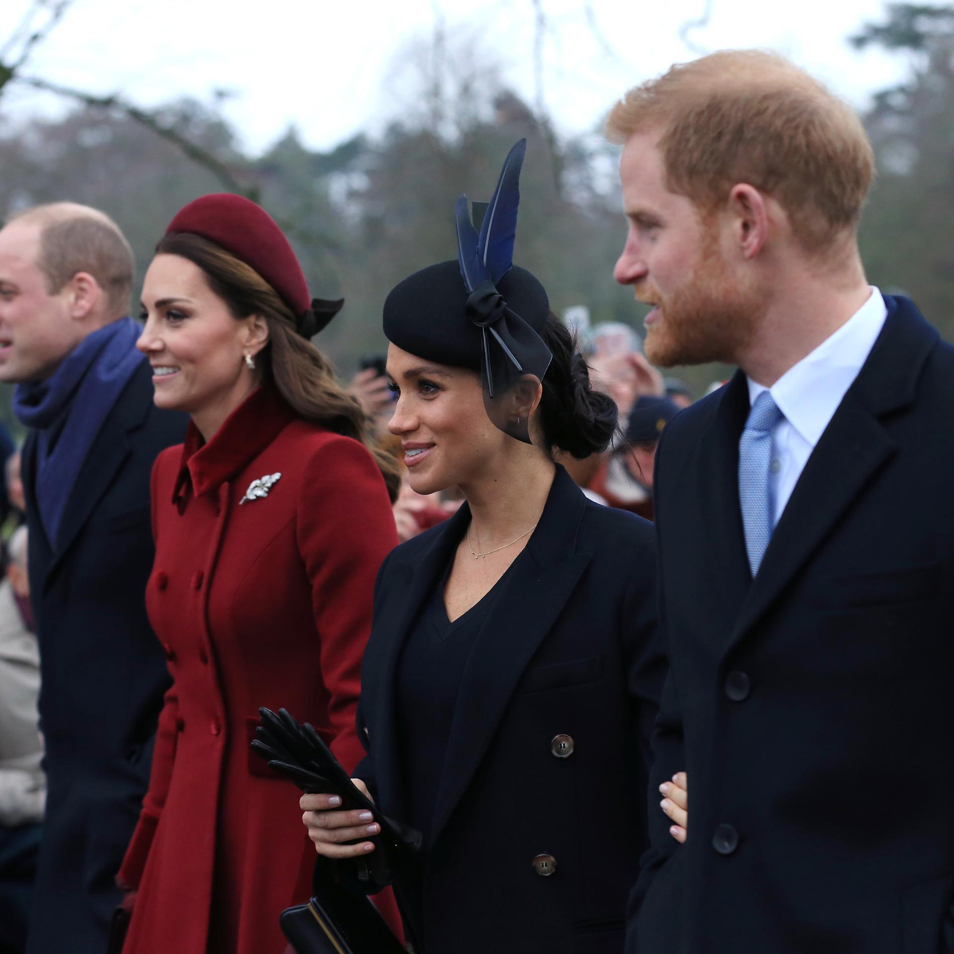 Le prince William, Kate, Meghan et le prince Harry à Noël