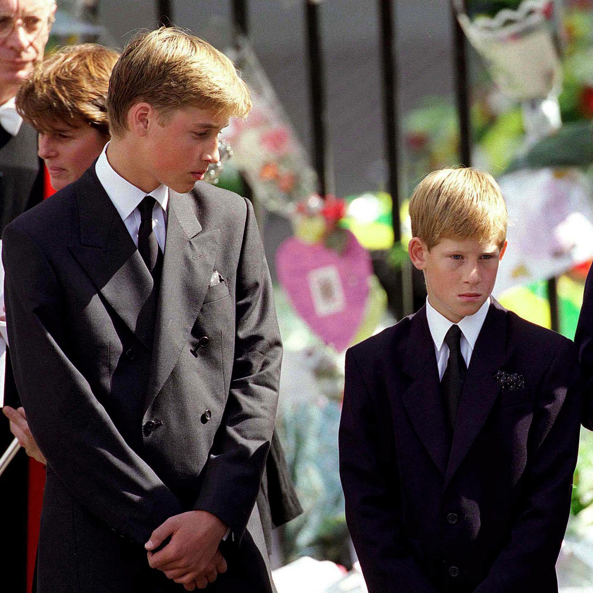 Les princes Harry et William à l'enterrement de Lady Diana