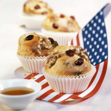 Muffins aux cranberries, noix et sirop d'érable
