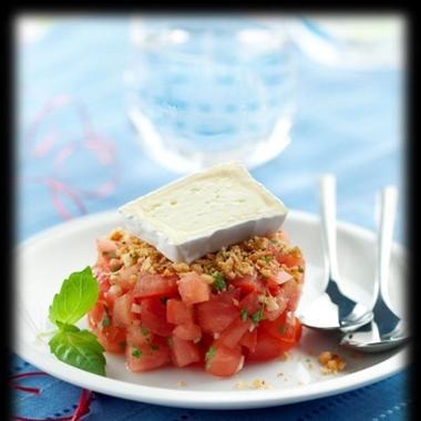 Tartare de tomates crumble noisettes et Caprice des Dieux