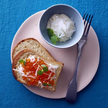 Œufs de saumon et raifort
