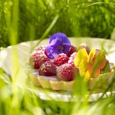 Tartelettes à la crème de violettes et aux framboises