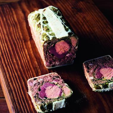 Terrine paysanne de palombe au chou vert et foie gras