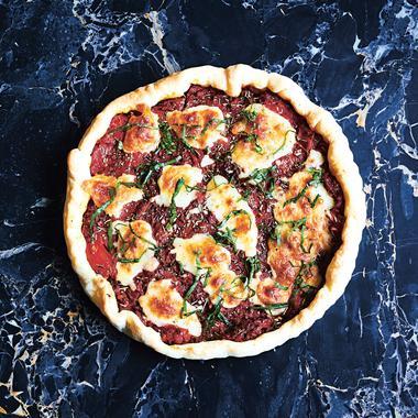 Tarte à la tomate, mozzarella, jambon