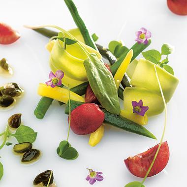 Haricots verts, cerises et pistaches