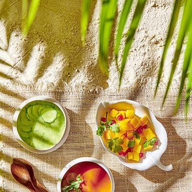 Soupes crues (concombre avocat et carottes gingembre)