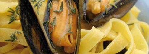 Tagliatelles aux moules de bouchot et jus crémé de pommes