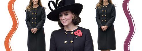 En visite auprès des cadets de l'Air, Kate Middleton recycle un manteau noir d'inspiration militaire