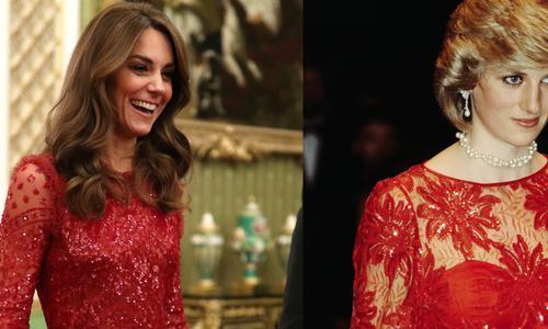 Kate Middleton s'inspire de Lady Di dans une superbe robe rouge à sequins transparente