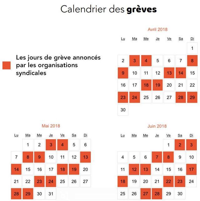 Calendrier Des Greves A La Sncf.Sncf Le Calendrier De La Greve Jusqu Au 28 Juin 2018