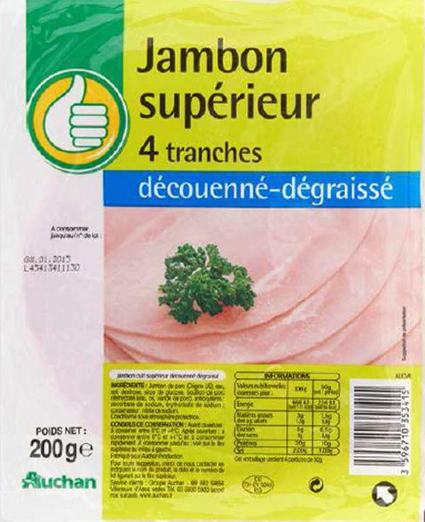 Du jambon Auchan contaminé à la listeria est rappelé