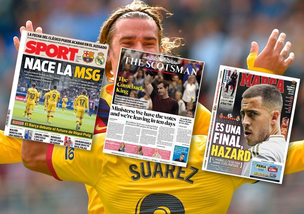 Griezmann, Murray, Hazard font la Une en Europe