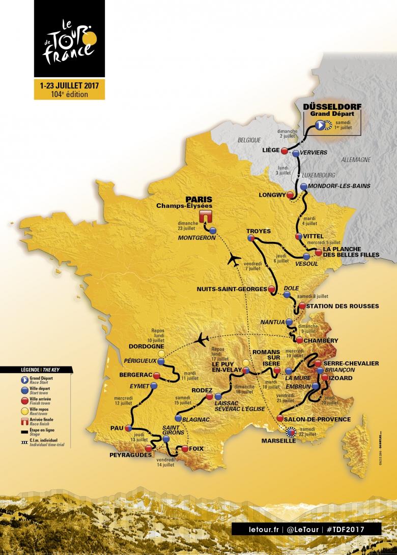 Cyclisme - Tour de France - Le parcours du Tour de France 2017 en vidéo