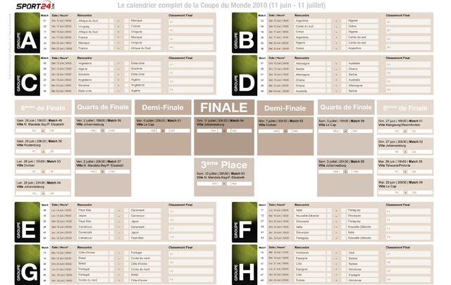 T l charger le calendrier du mondial coupe du monde 2010 - Coupe de monde handball calendrier ...