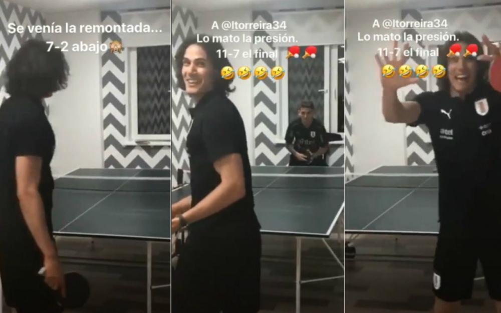 Football - Coupe du monde - Cavani met en scène sa «remontada»… au ping-pong