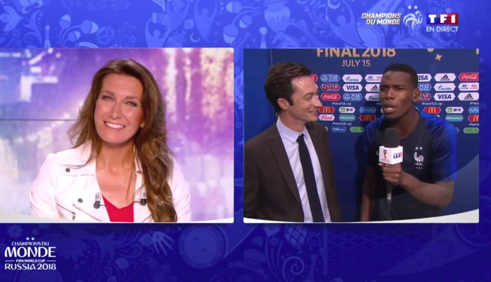 Football - Coupe du monde - Paul Pogba recadre Anne-Claire Coudray… mais la confond avec Anne Sophie Lapix