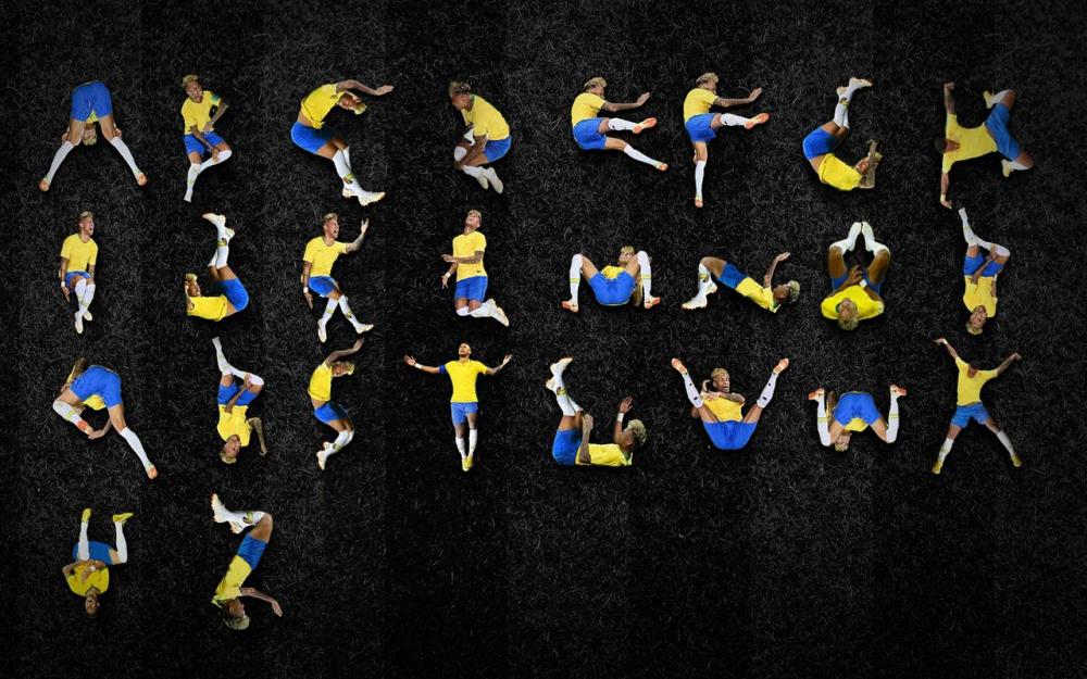 Football - Coupe du monde - Un graphiste crée un alphabet à partir des chutes de Neymar