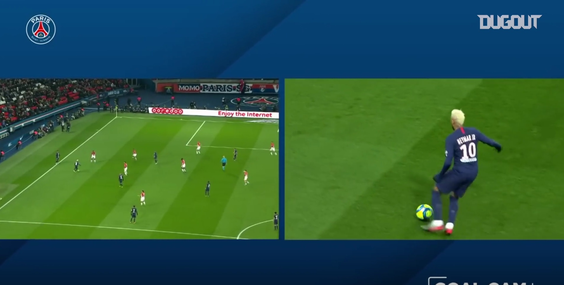 Football - Ligue 1 - PSG-Monaco : l'ouverture du score de Neymar sous tous les angles