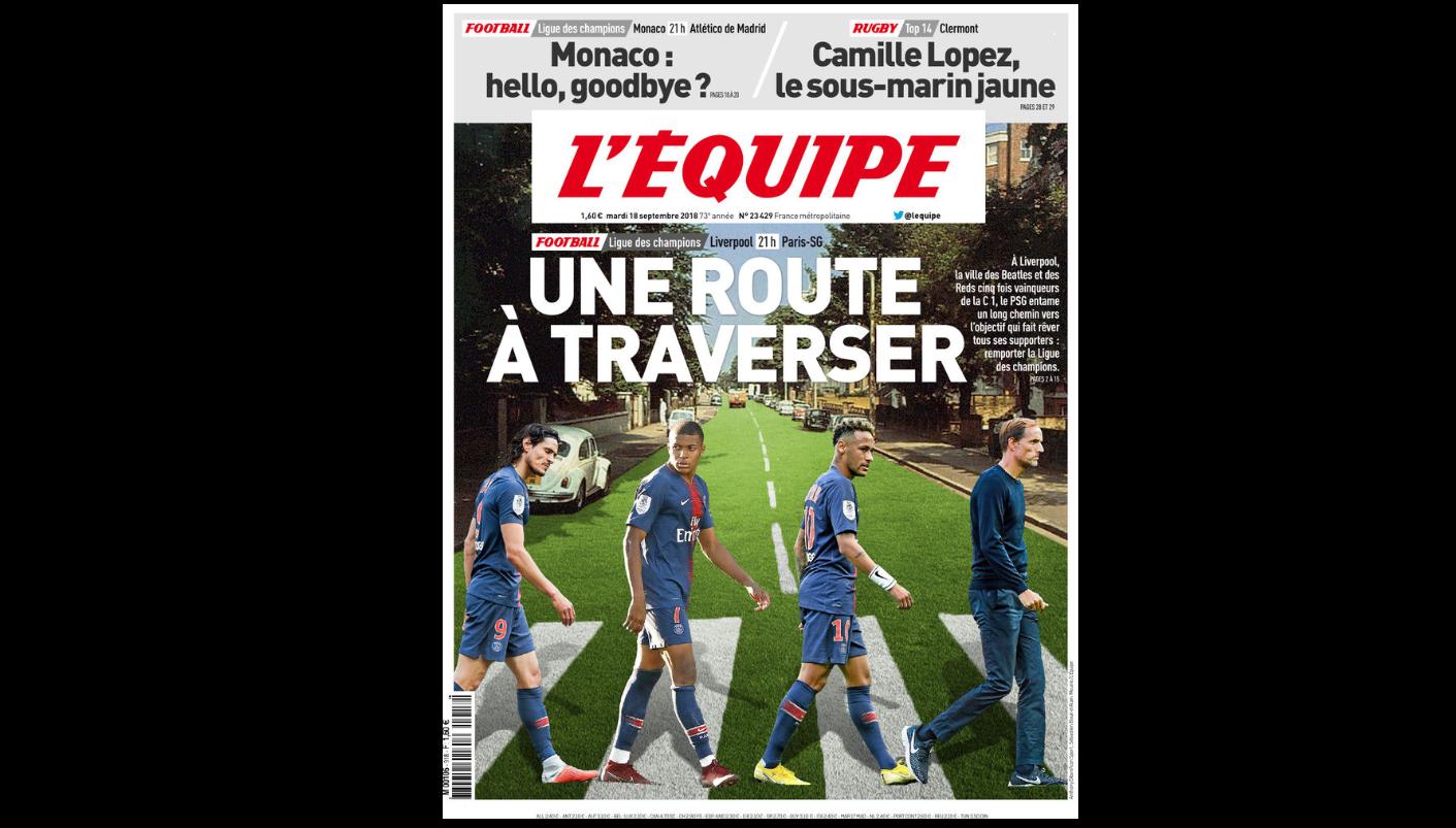 Football - Ligue des champions - Le clin d'oeil de L'Equipe aux Beatles et à Macron avant Liverpool-PSG