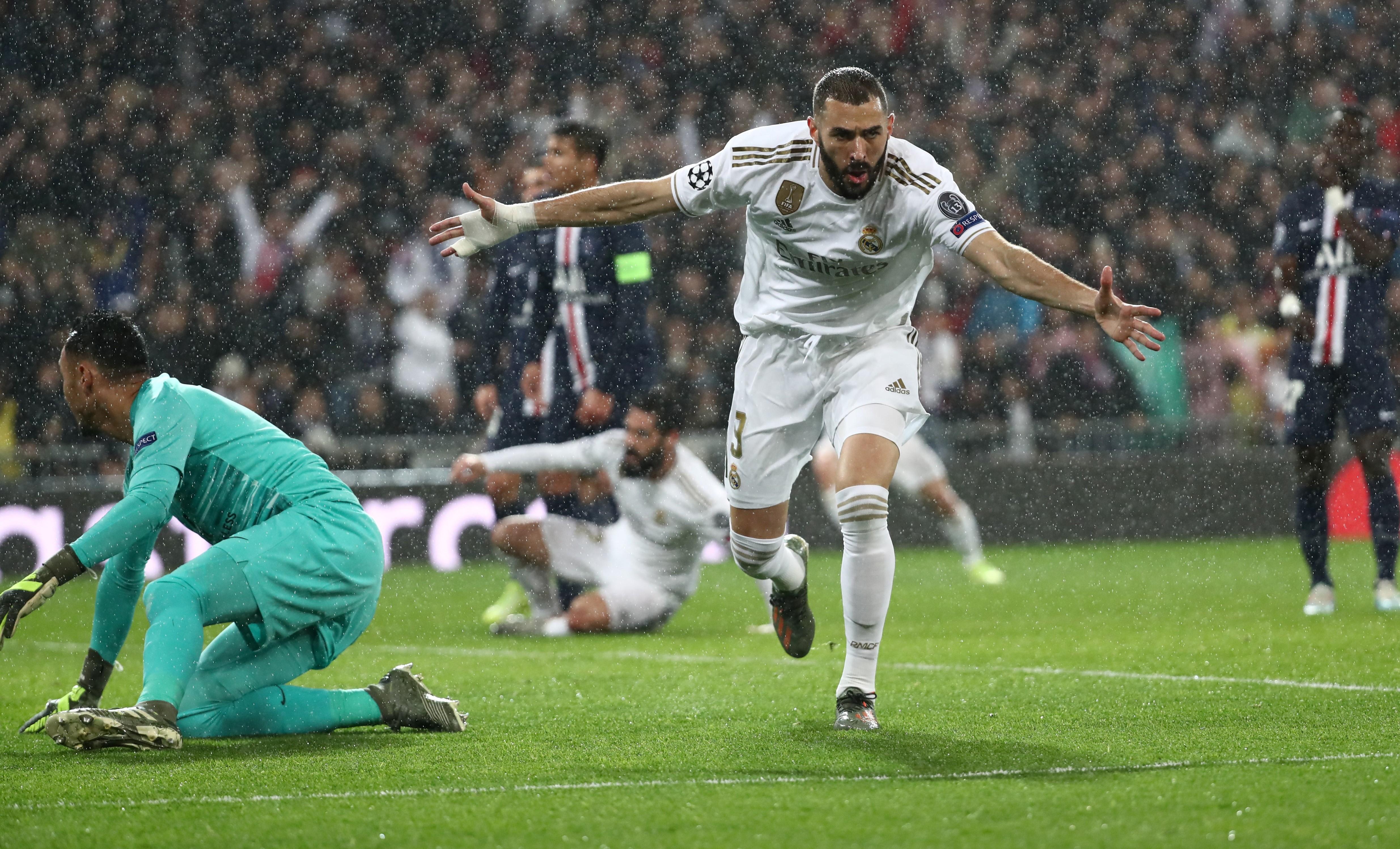 Football - Ligue des champions - Real-PSG : le doublé de Benzema en Ligue des champions