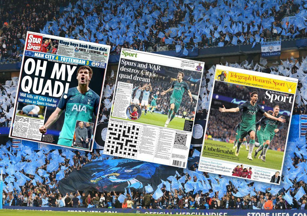 Football - Ligue des champions - Revue de presse : «Les Spurs et le VAR détruisent le rêve de quadruplé de City»