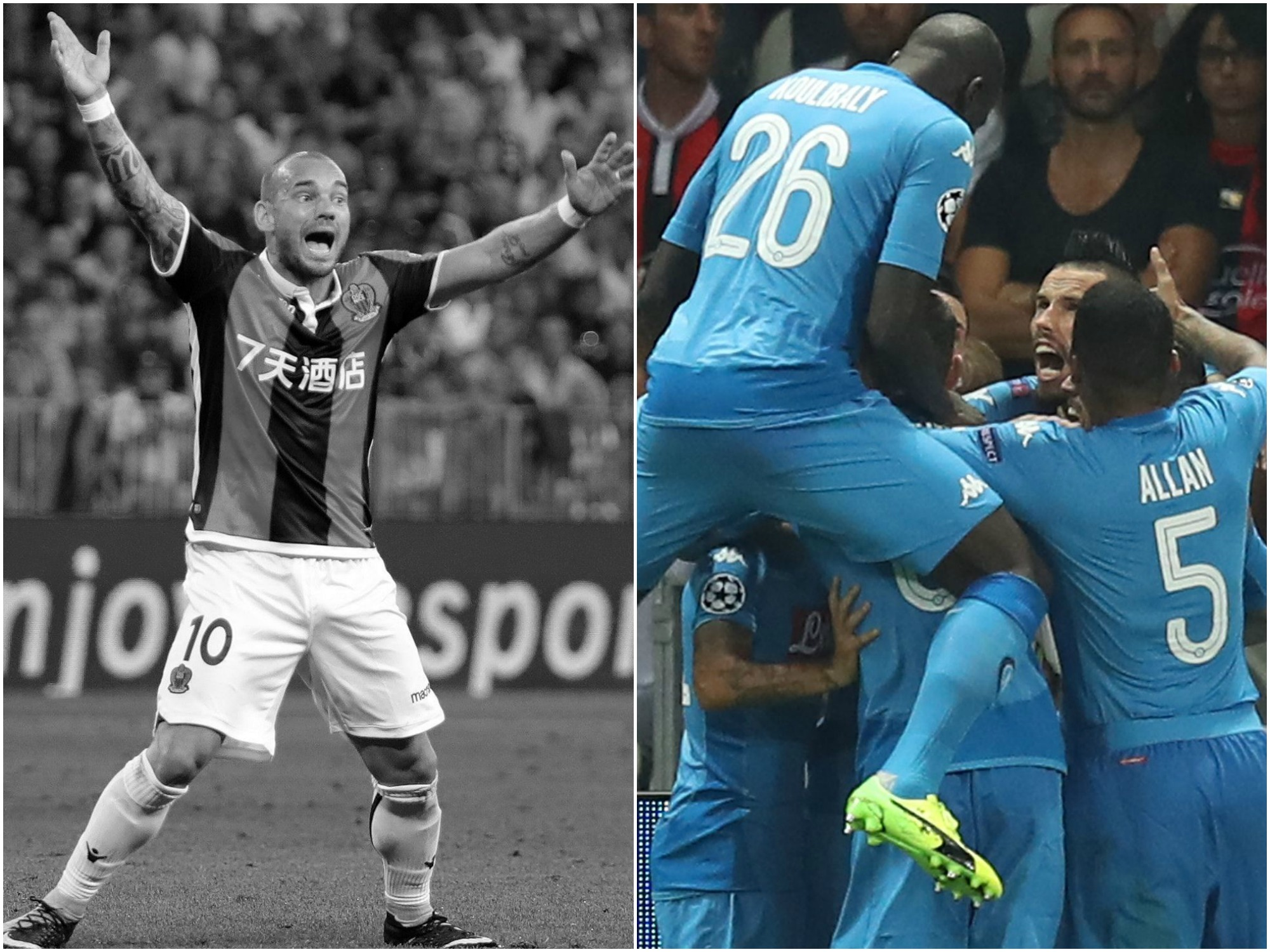 Football - Ligue des champions - Tops/Flops Nice-Naples : le Napoli implacable, Sneijder et Balotelli n'ont pas suffi
