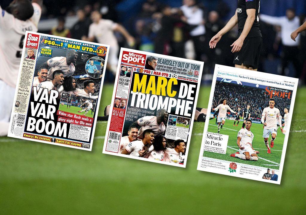 Football - Ligue des champions - «Var Var Boom», «Marc de triomphe», «Le miracle à Paris» : La presse anglaise jubile après l'exploit de Manchester