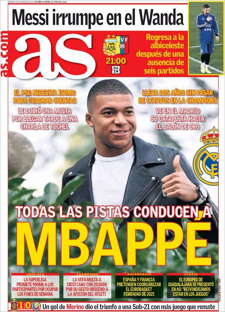 Football - Transferts - Le journal du mercato : «Toutes les pistes mènent à Mbappé», affirme le quotidien espagnol As