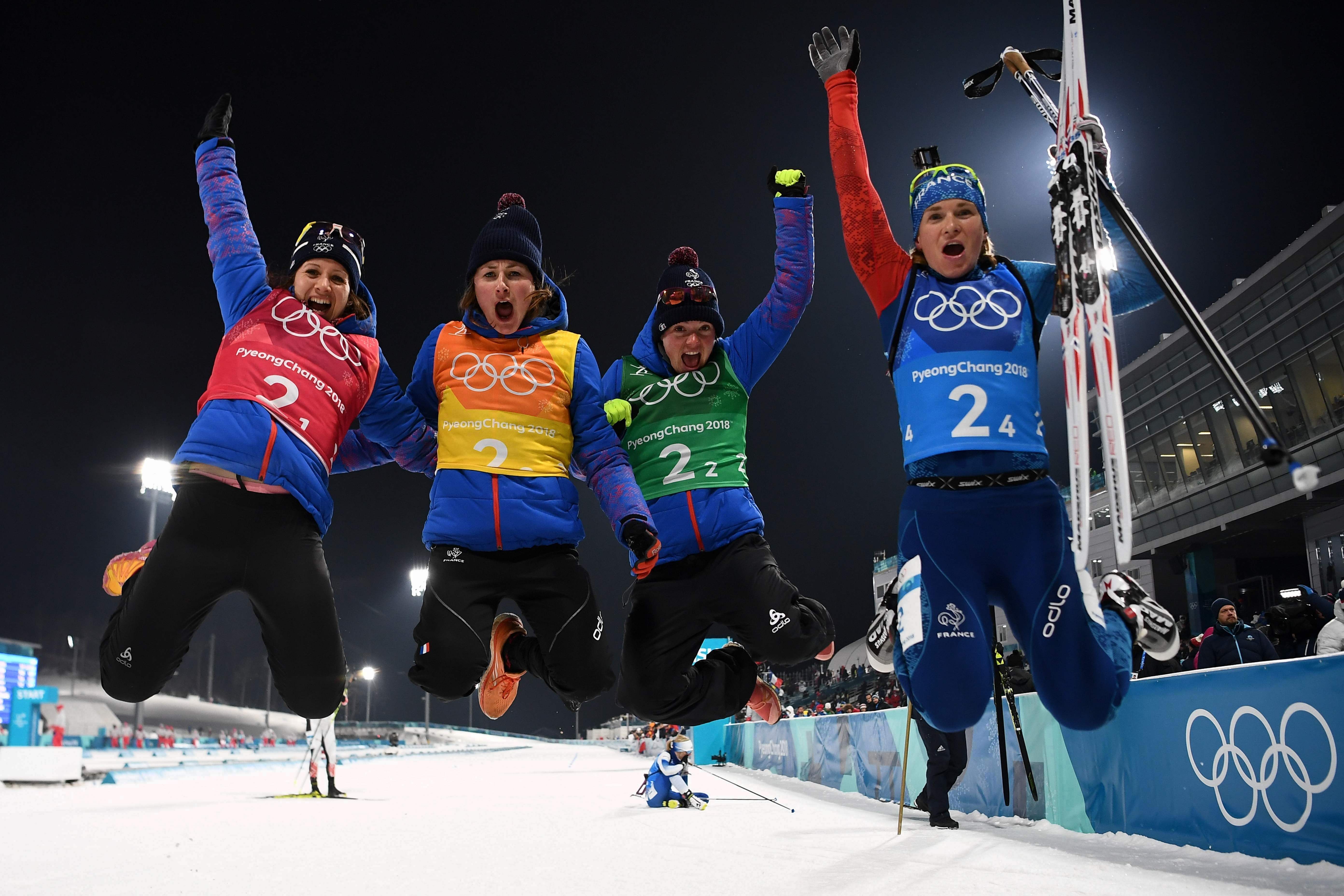 Jeux olympiques - Pyeongchang 2018 - JO 2018: Les biathlètes françaises en bronze, la France égale son record de Sotchi