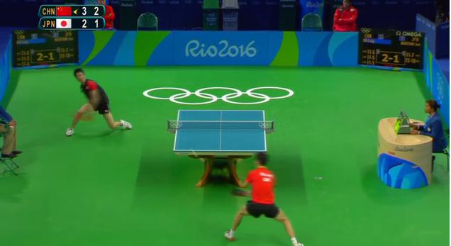 Tennis De Table Le Point Exceptionnel Entre Un Chinois Et Un Japonais Rio 2016 Jeux Olympiques