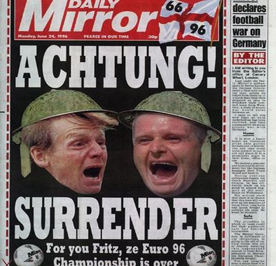 1996-morgan-is-forced-to-apologize-after-publishing-the-headline-achtung-surrender-during-the-semi-finals-of-the-euro-96-football-championships
