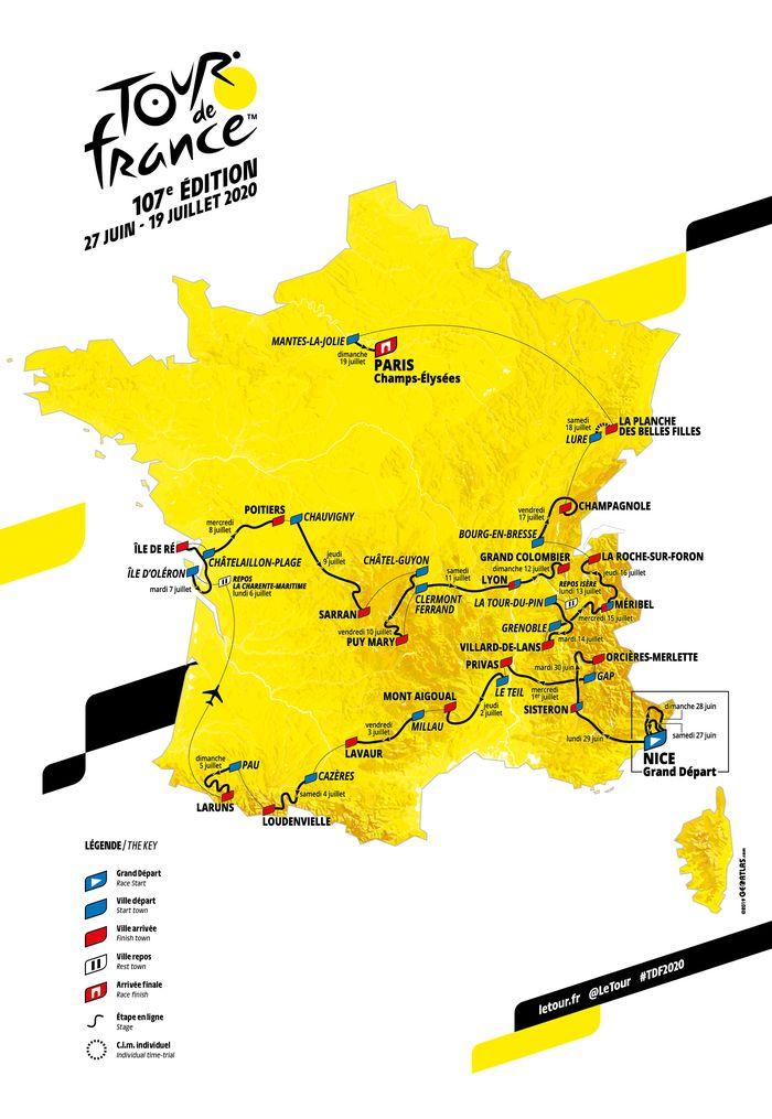 carte du tour de france 2020 à imprimer Tour de France: découvrez la carte de l'édition 2020   Fil Info