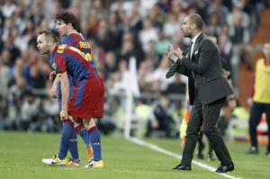 Pep Guardiola Andres Iniesta and Lionel Messi