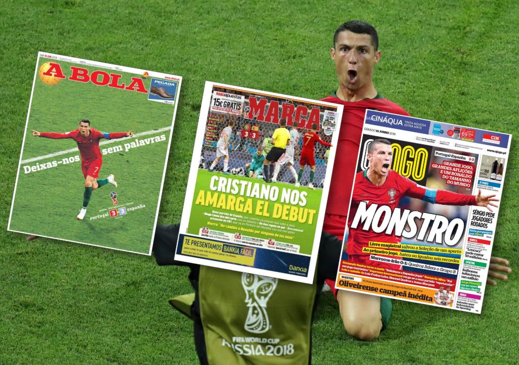 Football - Coupe du monde - Coupe du monde 2018 : «Ronaldo, le messie», «Monstre»… revue de presse après Portugal - Espagne