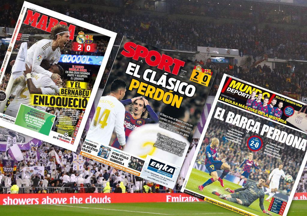 Football - Etranger - Revue de presse Real-Barça : Le Real a «du coeur», le Barça demande «pardon»