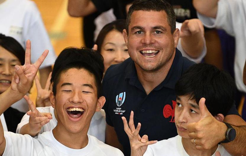 Rugby - Coupe du monde 2019 - Les écoliers de Fuji-Yoshida célèbrent le XV de France
