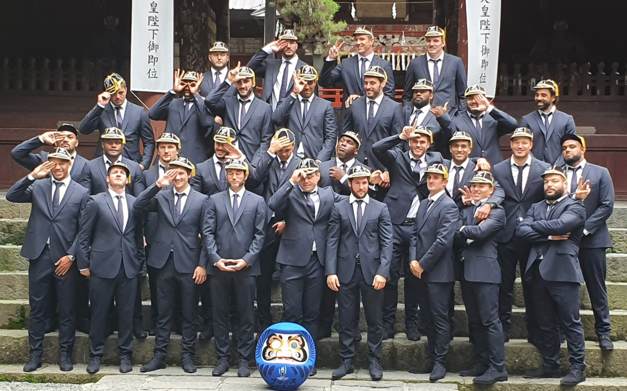 Rugby - Coupe du monde 2019 - Musique traditionnelle, remise des capes et sanctuaire shinto pour le XV de France