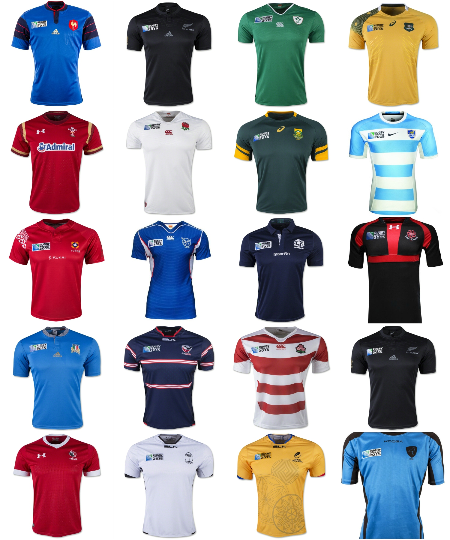 D couvrez les maillots des 20 quipes du mondial rugby - Resultats coupe du monde de rugby 2015 ...