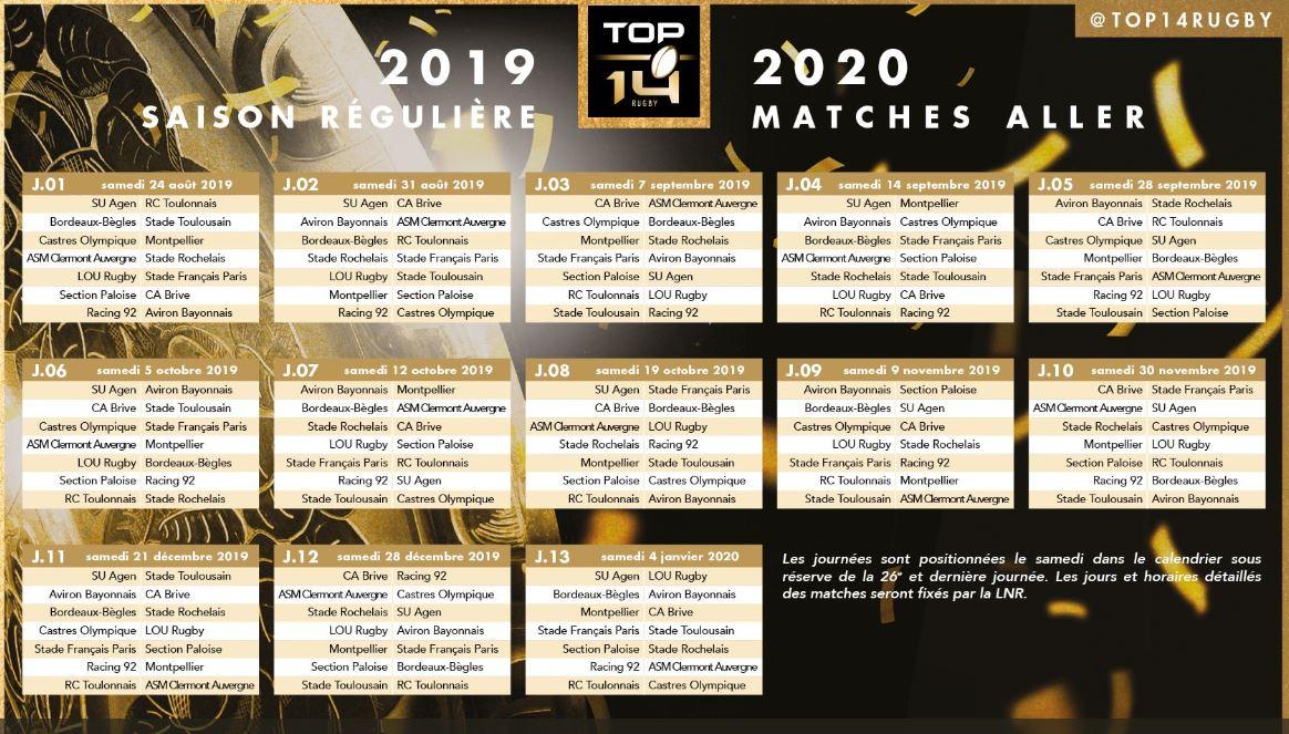Calendrier Top 14 2020.Le Calendrier De La Saison De Top 14 Devoile Top 14 Rugby