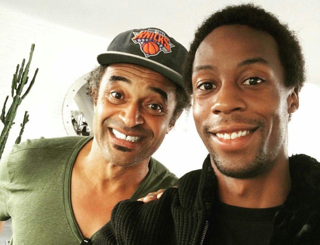 Tennis : Coupe Davis - Apr�s la pol�mique, Monfils s'affiche tout sourire avec Noah