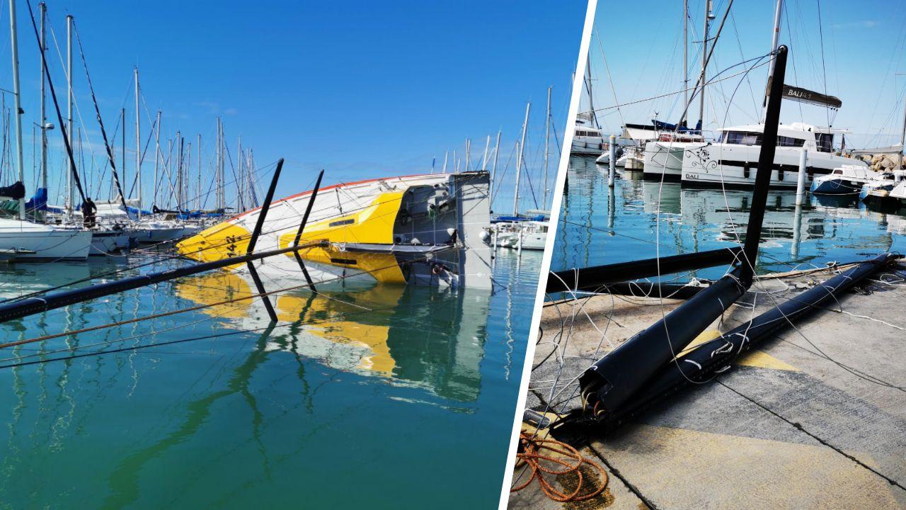 Voile - Transat Jacques Vabre - Transat Jacques Vabre : Le bateau de Kito De Pavant démâte au port
