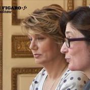 Evelyne Huard s'exprime à l'issue desa rencontre avec Eric Woerth
