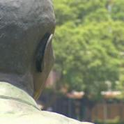 Mandela statue has rabbit in ear !
